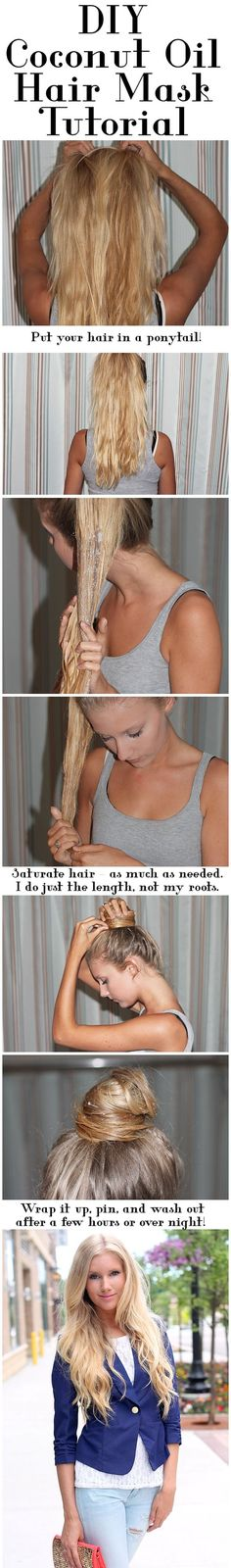 DIY Coconut Oil Hair Mask - Using coconut oil on hair will produce luxurious locks that'll be the envy of everyone around you! It's cheap, easy, and beats any restorative hair mask from the drug store.