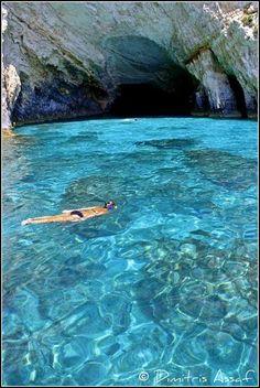 Swimming near the Blue Caves in Zakynthos island, Greece