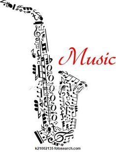 Clipart of Saxophone with musical notes k21002135 - Search Clip Art, Illustration Murals, Drawings and Vector EPS Graphics Images - k21002135.eps