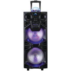 NAXA NDS-1050 Dual 10 Portable Bluetooth(R) DJ-PA Speaker Stack with Disco Dome Light