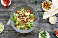 Chopped romaine salad with Piquillo peppers, hazelnuts and fried chickpeas