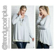 Silver Long Sleeve Tunic with Lace Trim Double panel front with lace trim.  Premium quality fabric!  60% Cotton 40% Polyester Tops Tunics