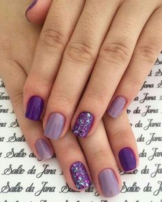 Try some of these designs and give your nails a quick makeover, gallery of unique nail art designs for any season. The best images and creative ideas for your nails. Winter Nail Designs, Nail Art Designs, Purple Nail Designs, Nail Art Ideas, Shellac Designs, Nagellack Design, Dipped Nails, Purple Nails, Purple Wedding Nails