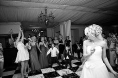 Throwing the bride bouquet.