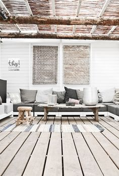 #Beach_Club_Naturel in the #Netherlands #deck #natural_wood #rustic #seating_area #veranda
