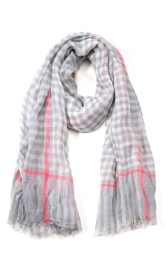 Marc by Marc Jacobs Accessories Dapper Grey Multi Belinda Check Scarf  Checked Scarf, Fashion Scarves 63312ee117f
