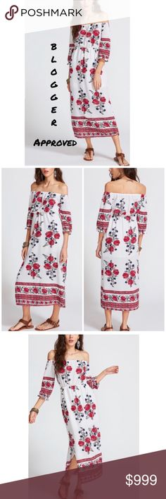 ..OFF THE SHOULDER FLORAL DRESS Yes! Blogger approved! Slit hem with a floral pattern that's just right. Slight a line style. 100% polyester. Simplicity at its best! Throw on earrings and sandals and you're out the door. -No trades. 51Twenty Dresses