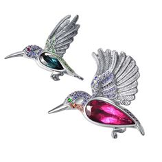 Forever Jewels Hummingbird brooches, set with tourmalines, sapphires, garnets, emeralds and rubies.