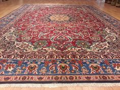 5849 10x14 Esfahan Isfahan Persian Hand Knotted Wool Red Navy 10'2x13'8 1650 Rug
