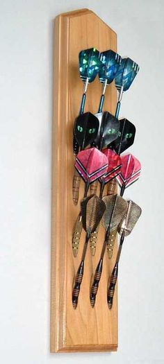 Handcrafted Poplar Wood Dart Holder Wall Mount Display by Darttree