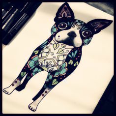 Boston terrier tattoo sketch. Drawing of my darling Cosmo, with some flowers and shit.