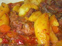 Ζουζουνομαγειρέματα: Κρέας στο φούρνο με πατάτες! Pot Roast, Pork, Chicken, Meat, Ethnic Recipes, Places, Pork Roulade, Carne Asada, Pigs