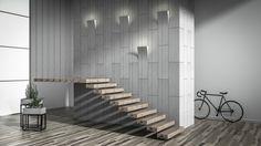 Bent concrete slabs with lights and concrete pots