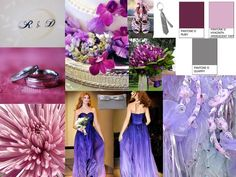 Inspiration Board: Quarry Grey, Ruby Purple, Hyacinth Violet : PANTONE WEDDING Styleboard : The Dessy   Group    I LOVE that dress!!!!!!!