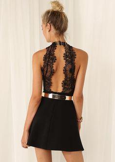 #SALE Black Halter Contrast Lace Backless Dress $25 Shop the #SALE at #Sheinside