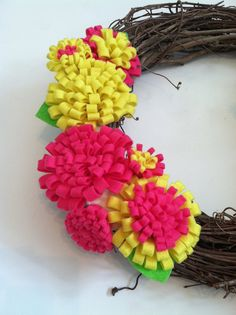 Spring or Summer Pink and Yellow Removable Wreath Attachment, $15.00