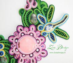 "Soutache necklaces ""Lotus with Dragonfly""   Zena Design"