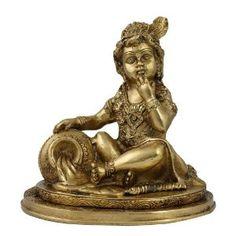 Idol Krishna Statue Hindu Art Sculpture Home Décor Brass; 19.05 x 19.05 x 14.61 cm: Amazon.co.uk: Kitchen & Home