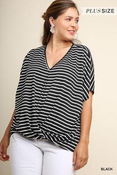 d11bdfe2e6d48 Umgee Black Stripe V-Neck Cross Body Short Sleeve Top - Umgee Clothing