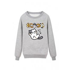 Lovely Cartoon Cat Japanese Letter Printed Round Neck Pullover... ($40) ❤ liked on Polyvore featuring tops, hoodies, sweatshirts, pullover top, cartoon sweatshirts, cat pullover, long sweatshirt and sweater pullover