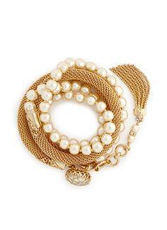MIRIAM HASKELL Wire mesh Baroque pearl tassel bracelet