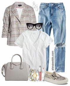 Plus Size Plaid Blazer Outfit Ideas with Mom Jeans and White T-Shirt, Snake Slip-on Sneakers and Givenchy Bag - Alexa Webb #plussize #alexawebb Plaid Outfits, Blazer Outfits, Casual Fall Outfits, Casual Summer, Plus Size Spring Dresses, Plus Size Fall Outfit, Summer Dresses, Plus Size Fashion Blog, Plus Size Fashion For Women