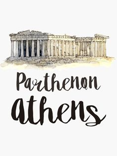 """""""Parthenon watercolor"""" Sticker by creativelolo Illustration Art Drawing, Travel Illustration, Logo Design App, Perspective Drawing Lessons, Parthenon, Acropolis, Watercolor Architecture, City Icon, Watercolor Stickers"""
