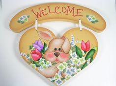 Spring Bunny and Flowers Wooden Welcome Heart Sign | astrokeofjeanneius - Seasonal on ArtFire