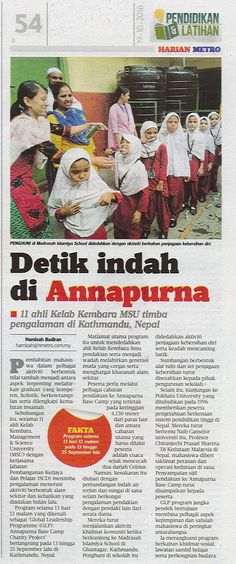 11 students of MSU Adventure Club in collaboration with Students & Career Development Department participated in a Global Leadership Programme (GLP): Annapurna Base Camp Charity Project in Kathmandu, Nepal recently.  Harian Metro, 19 October 2016