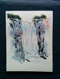 waterfall simple japanese drawing sketch reddit aesthetic easy cartoon landscape drawings painting sketches doodles tattoo graffiti
