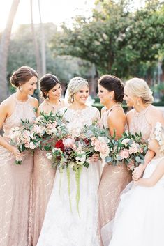 Classic glamour reigns in this blush and red Tampa wedding at Armature Works from V List wedding planner Tracie Domino Events. Long Sleeve Lace Gown, Gold Gown, Wedding Bouquets, Wedding Dresses, Blush Bridal, Blush And Gold, Dance The Night Away, Wedding Vendors, Wedding Details