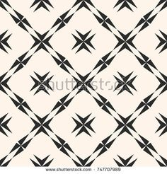 Abstract geometric seamless pattern. Elegant texture with star shapes, crosses, diagonal square grid. Monochrome repeat background. Design for decor, fabric, cloth, furniture, carpet. - Stock vector