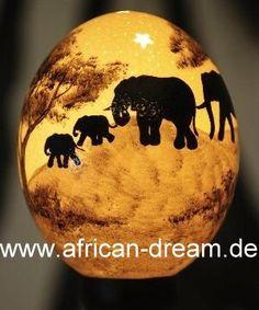 Painted Ostrich Eggs - Original Hand Made