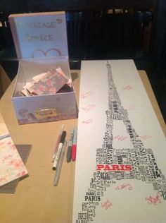 paris themed bridal shower guestbook idea