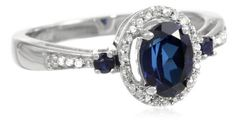 10k White Gold Oval and Round Created Blue Sapphire and Diamond Ring (1/12 cttw, J-K Color, I2-I3 Clarity)