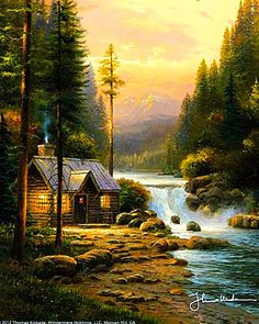 Evening In The Forest ~ c.c.c~ Thomas Kinkade ~ Beautiful... A light has been dimmed - May Thomas now be with God in a Paradise even more awesome than those he painted for us.