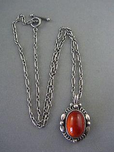 Vintage Sterling Silver & Amber signed GEORG JENSEN 1995 DENMARK Necklace - http://designerjewelrygalleria.com/georg-jensen/vintage-sterling-silver-amber-signed-georg-jensen-1995-denmark-necklace/