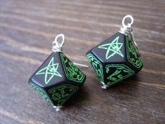 call of Cthulhu earrings D10 D100 dice earrings by MageStudio