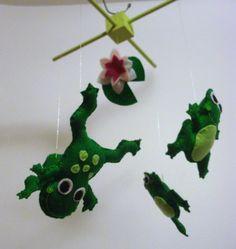 Green Felt Frogs Nursery Mobile