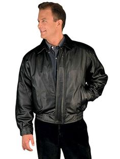 Reed Men's American Style Bomber Genuine Leather Jacket.
