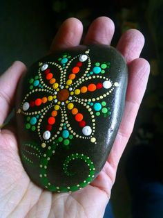 Hand Painted Dot Art Flower Painted Beach by P4MirandaPitrone
