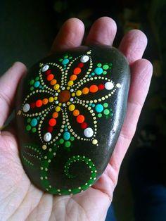 Hand Painted Dot Art Flower Painted Beach by P4MirandaPitrone