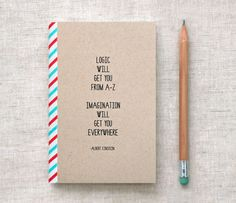 Einstein Journal, Mini Notebook, Sketchbook - Quote, Recycled - Back to School, Stocking Stuffer