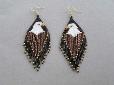 Eagle+Earrings+in+Delica+Beads+by+DsBeadedCrochetedEtc+on+Etsy,+$32.00
