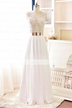 White round neck sequin long prom dress, formal dress with gold belt, white chiffon sequin evening dress for teens Unique Prom Dresses, Dresses For Teens, Homecoming Dresses, Beautiful Dresses, Nice Dresses, Dress Prom, Wedding Dresses, Cruise Dress, Sequin Evening Dresses