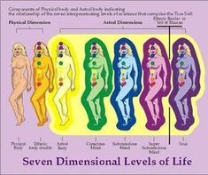Seven #Dimensional Levels of #Life - Energy interrelationship of self and dimensions: 7th chakra- Spiritual connection-Violet.....Soul-self........................7th Celestial plane of oneness 6th chakra- Intuitive perception-Purple.....Supra Subconsciou