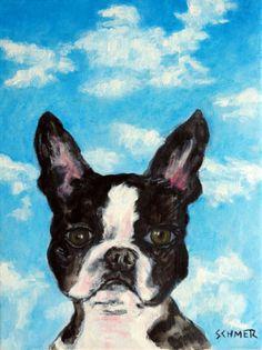 BOSTON TERRIER sky painting signed dog art 8.5x11 GLOSSY PRINT