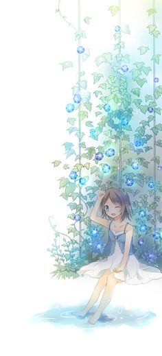 anime girl with morning glory
