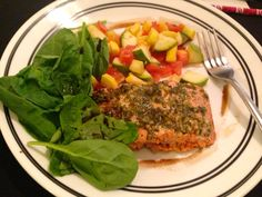 Pesto Salmon, italian style zucchini medley, and fresh spinach tossed with balsamic vinegar