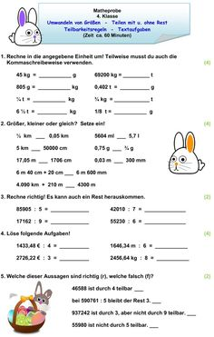 Klassenarbeit zu Größen und Maßeinheiten